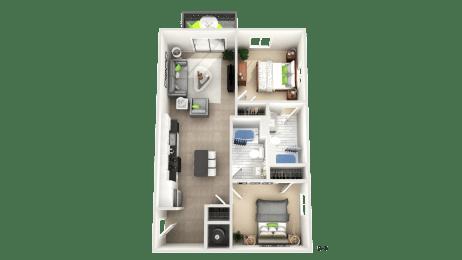 Two Bedroom Floor Plan  at Apex Apartments, Arlington, VA, 22206