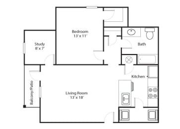 Parkway 1x1 815 SF floor plan
