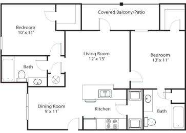 pines 2x2 955 sf floor plan