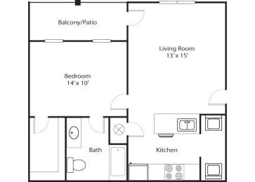 Pointe 1x1 681 SF floor plan
