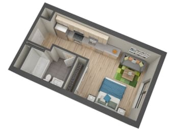 Bancroft Floor plan at The Whit, Minneapolis, 55404