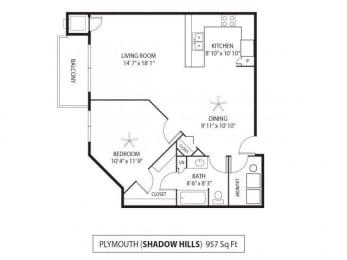 Floor Plan  Shadow Hills Apartments in Plymouth, MN 1 Bedroom 1 Bath