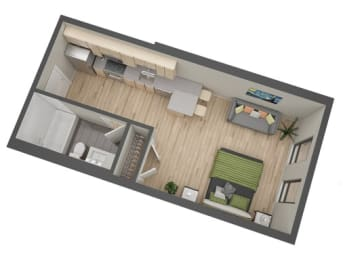 Standish floor plan at The Whit, Minneapolis, MN