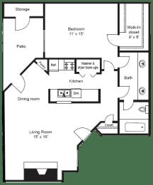 A3| 1 BED/1BATH | 796 SQ. FT.