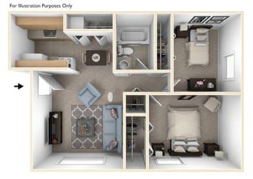 Two Bedroom One Bath Floorplan at Normandy Village Apartments, Michigan City