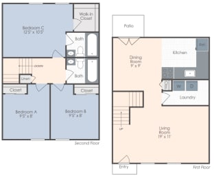 Three bedroom, two bath two-dimensional townhome floor plan.