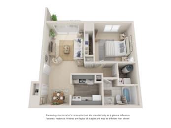One bedroom, one bathroom three dimensional floor plan.