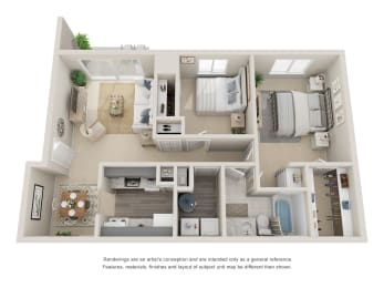 Two bedroom, one bathroom three dimensional floor plan.