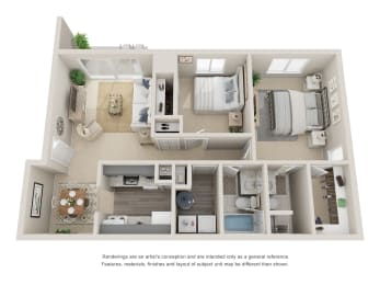 Two bedroom, two bathroom three dimensional floor plan.