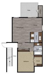 One Bedroom Floorplan at St. Charles Oaks Apartments, California, 91360