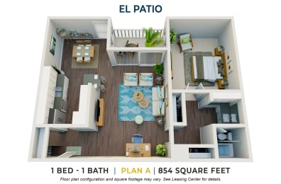 One Bedroom Plan A FloorPlan Image at El Patio Apartments, Glendale, California
