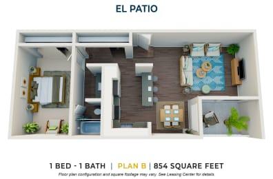 One Bedroom Plan B FloorPlan Image at El Patio Apartments, Glendale, CA