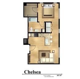 Floor Plan  chelsea studio apartment 1 bath 651 square feet