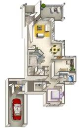 Dillon Renovated – 1 Bedroom 1 Bath Floor Plan Layout – 1123 Square Feet