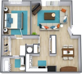 Three dimensional floor plan of a one bedroom apartment with furniture at Stone Oak Apartments in Independence, Missouri