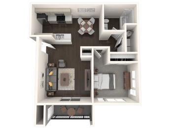 The Tides at Willow Point Apartments 1 Bed 1 Bath Floor Plan