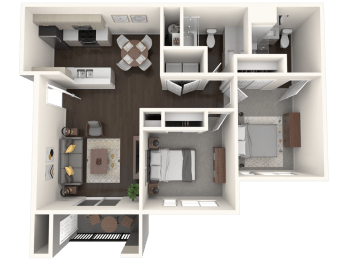 The Tides at Willow Point Apartments 2 Bed 2 Bath Floor Plan