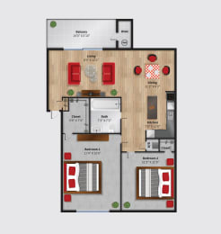 The Cove at HDG Apartments Daysailor Floor Plan