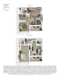 Echo Mountain Apartments 2 Bedroom 2.5 Bathroom Townhouse Floor Plan