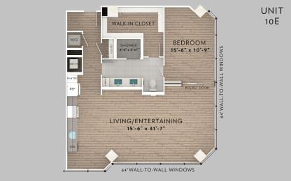 eLofts Apartments 10E Live Floor Plan