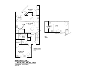 Townhomes with a View Birch with Loft Floor Plan