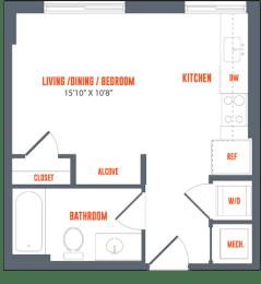 Legacy West End S2B Studio Bedroom One Bathroom Floor Plan