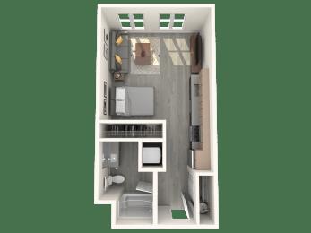 Floor Plan  Boathouse Apartments Studio A Floor Plan