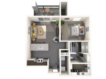 One Bedroom, One Bathroom Small Floor Plan at Jasper Apartments, Meridian
