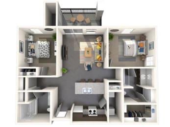 Two Bedroom, Two Bathroom Small Floor Plan at Jasper Apartments, Idaho, 83642