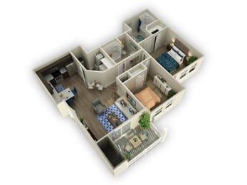 2 Bedroom 2 Bathroom Floor Plan at Alloy at Geneva, Vineyard, Utah