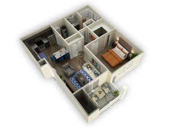 1 Bed 1 Bath Floor Plan at Alloy at Geneva, Vineyard, UT, 84058