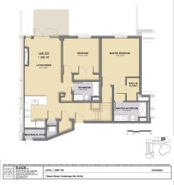2 Bedroom, 2 Bathroom Condo Layout at Saint James Place, Cambridge, Massachusetts