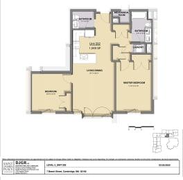 2 Bedroom, 1.5 Bathroom Condo Layout at Saint James Place, Cambridge, 02140