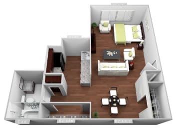 Studio Floor Plan at Highland Club Apartments, Watervliet, NY, 12189
