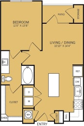 1 Bedroom 1 Bathroom B Floor plan at The Kelley, Ft. Worth, TX