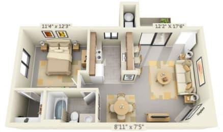 Pepperwood Apartments 1x1 Floor Plan 610 Square Feet