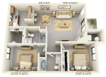 Pepperwood Apartments 2x2 Floor Plan 859 Square Feet