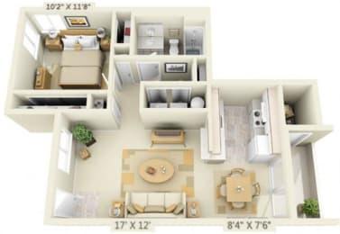 Clackamas Trails Apartments 1x1 Floor Plan 699 Square Feet