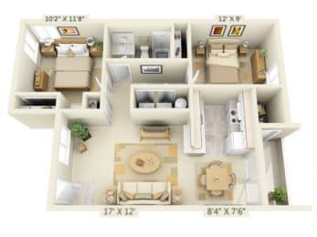 Clackamas Trails Apartments 2x1 Floor Plan 821 Square Feet
