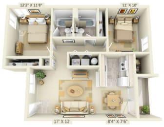 Clackamas Trails Apartments 2x2 Floor Plan 893 Square Feet