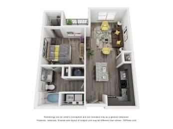 Floor Plan  Cue Galatyn Station A1A Floor Plan 1 Bed 1 Bath 646 sqft