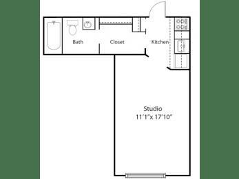 Hill House floor plan - The Poets Studio - 0 bedrooms 1 bath - 2D