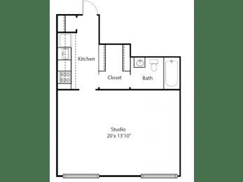 Hill House floor plan - The Writers Studio - 0 bedrooms 1 bath - 2D