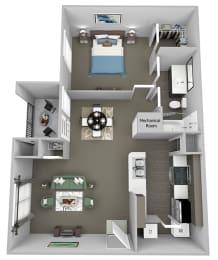 Weston Point - A1 - 1 bed - 1 bath - 3D floor plan