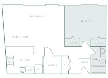 Harbor Hill Apartments floor plan A1 - 1 bed 1 bath - 2D