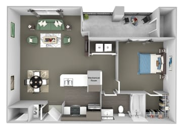 The Fairways - A2 Glenn Abbey - 1 Bedroom 1 Bath - 3D