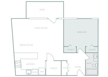 Harbor Hill Apartments floor plan A2 - 1 bed 1 bath - 2D