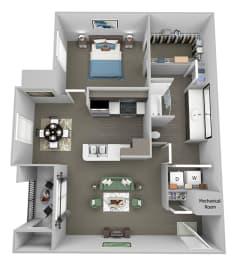 Weston Point - A2 - 1 bed - 1 bath - 3D floor plan