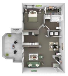Antelope Ridge - A2 Oryx - 1 Bed 1Bath - 3D Floor Plans