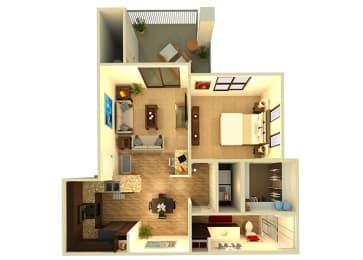 Almeria at Ocotillo A2 floor plan - 1 bedroom 1 bath - 3D